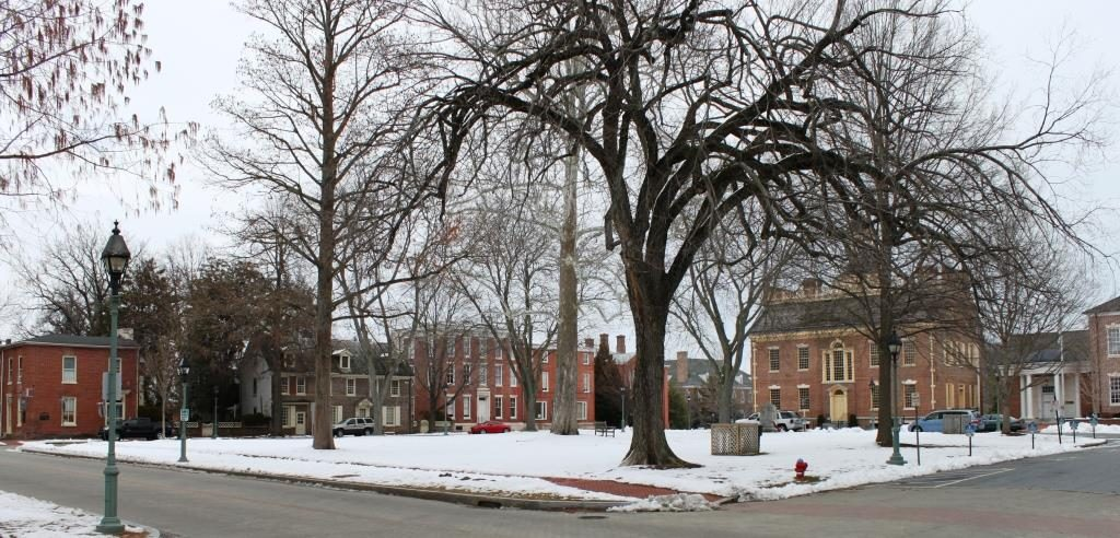 Dover Green. The Old State House is on the center-right.