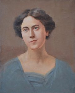Portrait of Ethel Canby Peets by Orville Peets on display at the Zwaanendael Museum.