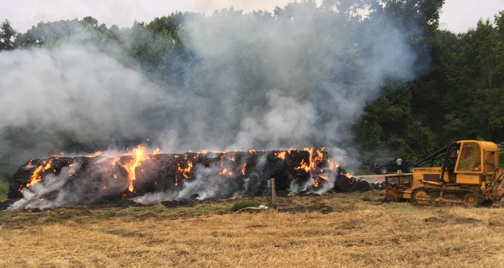 This straw bale fire on Fourth of July last year in the Cedar Swamp Wildlife Area illustrates the challenges of fighting a wildfire. The Delaware Forest Service is offering grants to help volunteer fire companies purchase equipment and resources to battle wildfires.