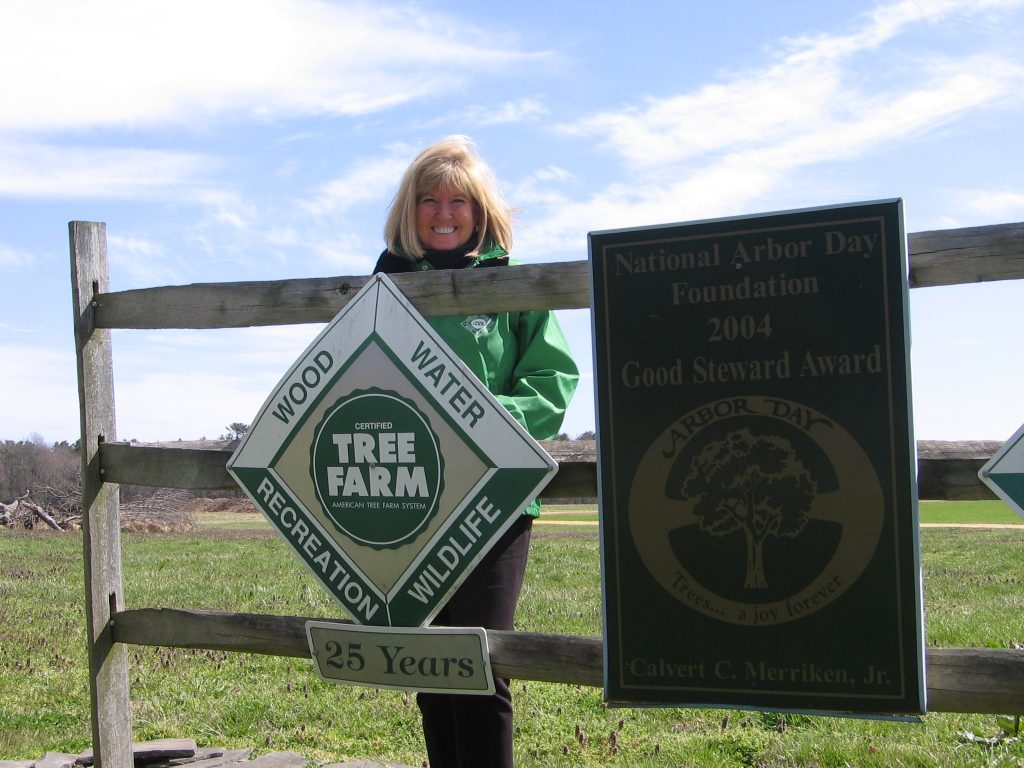 Leslie Merriken, Delaware's 2017 Tree Farmer of the Year, at her California Farm just west of Harrington.