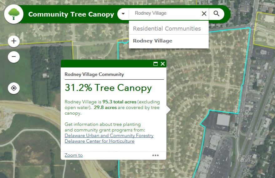 This maps shows the Rodney Village subdivision near U.S. 13 in South Dover. A new GIS tool from the Department of Agriculture's Forest Service shows that the community has a current tree canopy level of 31.2 percent.