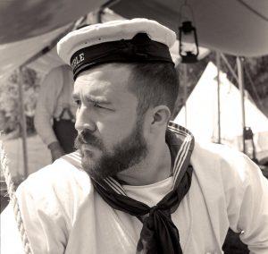 Zwaanendael Museum historical interpreter Andrew Lyter portraying a World-War-I-era British sailor.