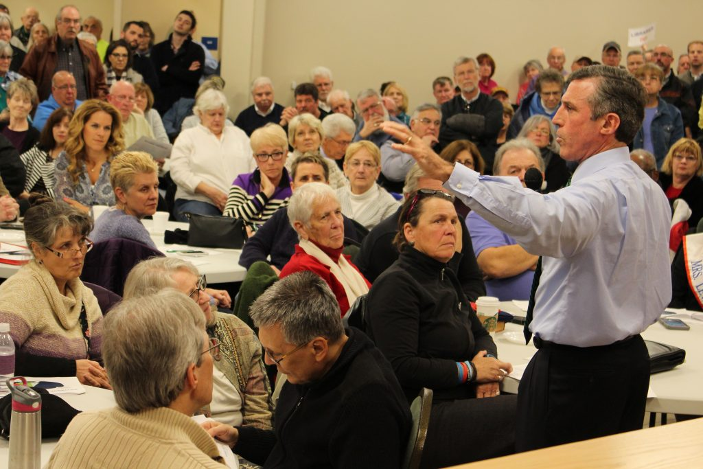 Governor Carney discusses budget challenges at a Community Conversation in Lewes.