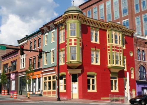 Before-and-after photos of a preserved set of historic buildings in Wilmington.