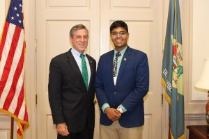 Governor Carney with Boys State Governor Shreyas Parab of Archmere Academy.