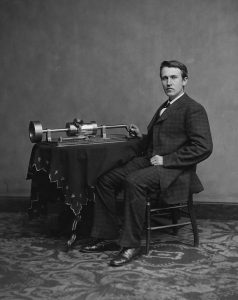 "Thomas Edison posing with a tinfoil phonograph. The ""Wizard of Menlo Park"" will be one of the inventors featured in the program ""An Inventor's Tale: From Tinfoil to the 78"" at the Johnson Victrola Museum on Aug. 5 and 19, 2017."