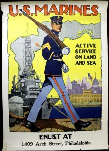 """U.S. Marines—Active Duty on Land and Sea."" Poster by Sidney H. Reisenberg, 1917. Part of the online exhibit, ""Drawing America to Victory: The Persuasive Power of the Arts in World War I"""