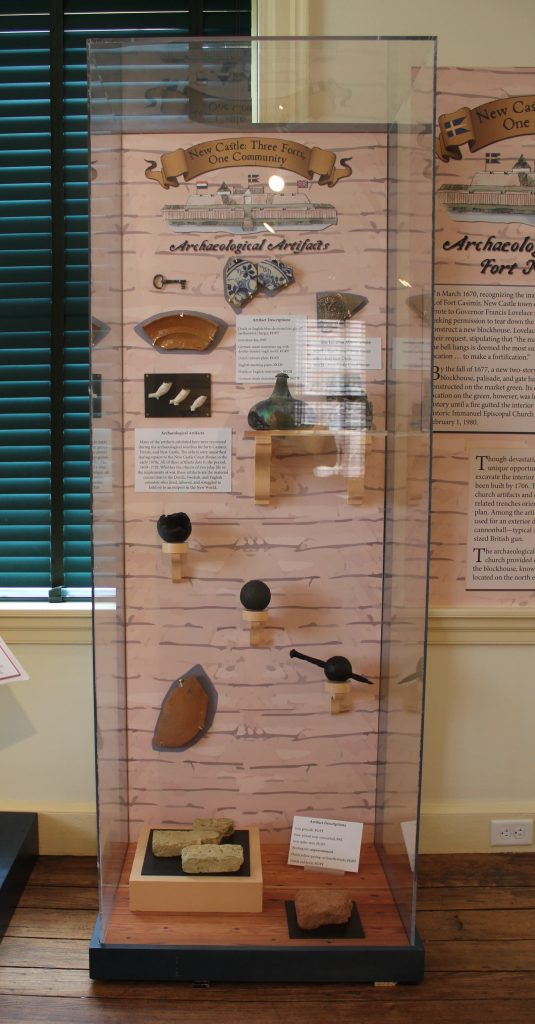 """Artifacts on display in the """"New Castle: Three Forts, One Community"""" exhibit"""