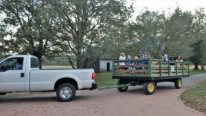 "Visitors enjoying a wagon-ride guided tour of the John Dickinson Plantation grounds. Wagon rides will be part of the ""Lantern Tours of the Plantation"" on Oct. 27, 2017."