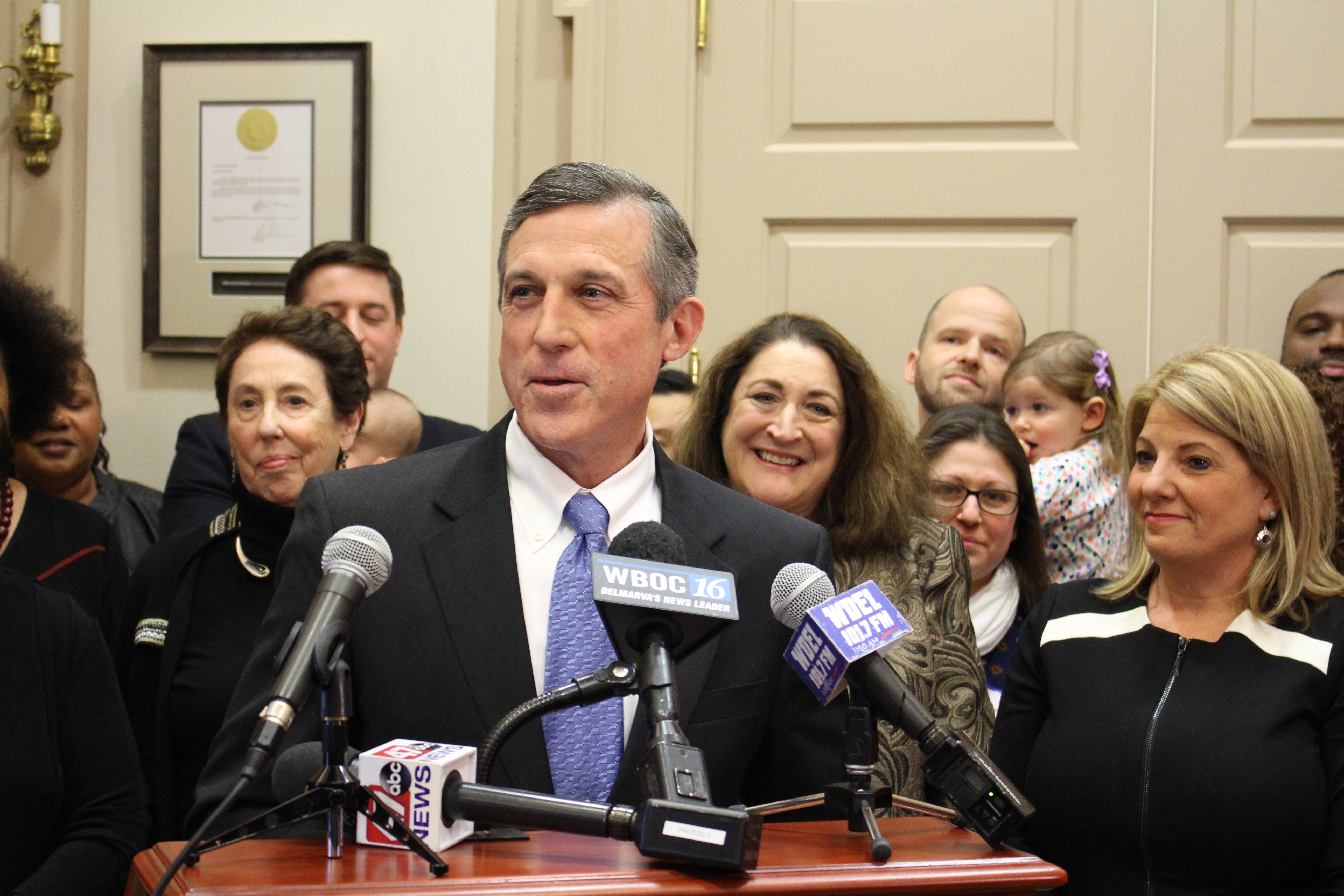 Gov. Carney announces support for paid paternal leave for state workers.