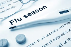 graphic of the words flu season, a thermometer and aspirinr