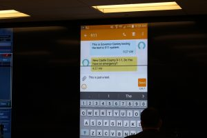 Governor Carney tests Text to 911.
