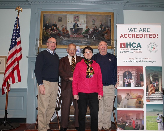 State Sen. Bruce Ennis and state Rep. William Carson visit Belmont Hall in Smyrna in celebration of the Division of Historical and Cultural Affairs' accreditation by the American Alliance of Museums. From left: division Director Tim Slavin, Ennis, Missy Vaughan of the Friends of Belmont Hall and Carson