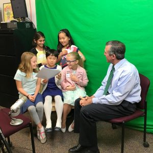 Adithi, Emma, Julia, Rachel, and Madison, third grade students at North Star Elementary, share their ideas on how to help the environment with Governor Carney.