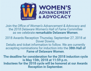 Hall of Fame of Delaware Women information