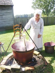 Dyeing wool at the John Dickinson Plantation. Eighteenth-century techniques used to dye fabric will be explored at the museum on June 16, 2018.