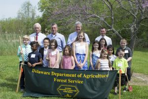 Gov. Carney, state officials and students at Delaware Arbor Day at St. Jones Reserve in Dover.