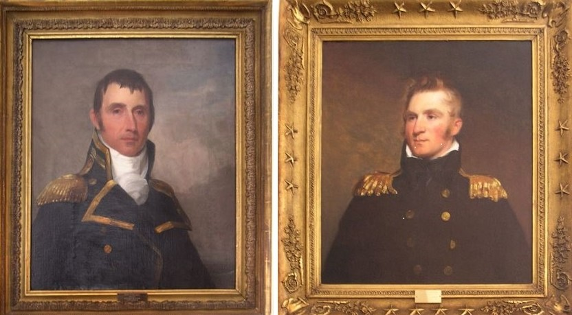 "Thomas Sully's portraits of commodores Jacob Jones (left) and Thomas McDonough, two Delaware heroes of the War of 1812, on display in The Old State House. On June 2, 2018, the museum will present ""Change of Command,"" a historical-theater production exploring the true story of the transfer of command of the USS Constitution (Old Ironsides) from Jones to McDonough. On June 9, Sully's paintings, as well as the museum's portrait of George Washington by Denis A. Volozan, will be explored in the program, ""Artists at The Old State House."""