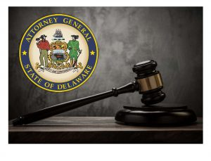 Photo of the Delaware AG's Seal and gavel