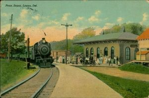 "Postcard depicting the Lewes, Del. railroad station from the exhibit ""Delaware Railroads: Elegant Travel and Timely Transport."""