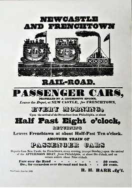 New Castle and Frenchtown Railroad excursion train schedule. Published in New Castle, Del., June 1, 1833.