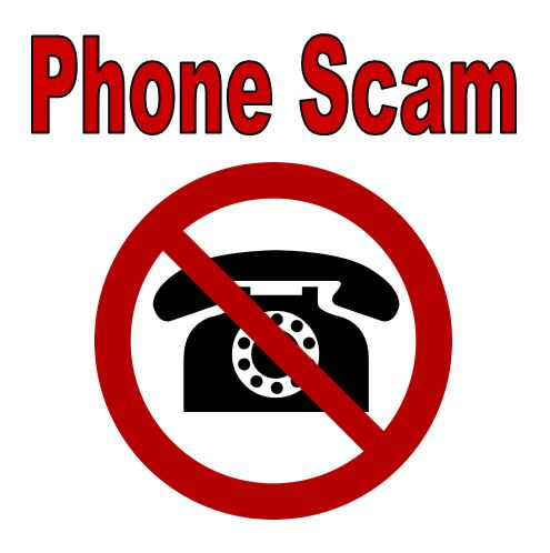 "Picture of the words ""Phone Scam"" and a telephone in a circle with a line drawn through it"