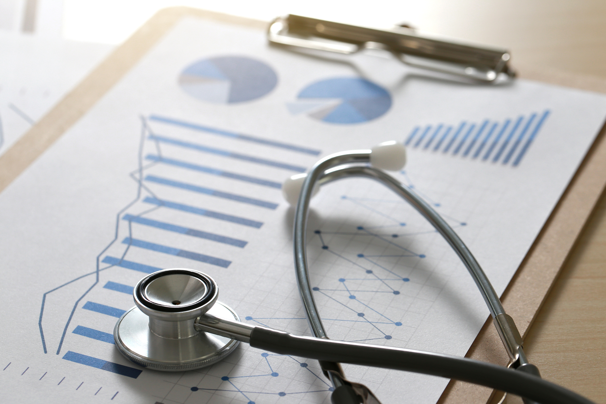Photo of a Stethoscope, charts, clipboard