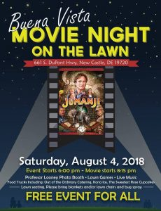 "Buena Vista will present a free, outdoor screening of ""Jumanji"" on Aug. 4, 2018."