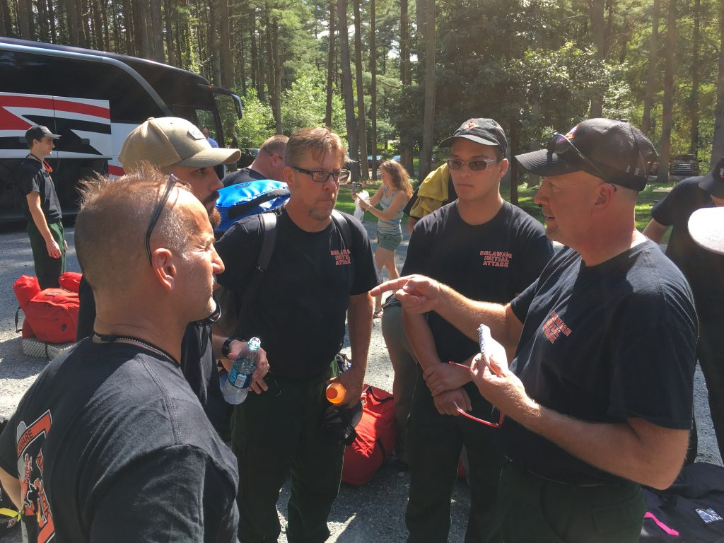 Delaware wildfire crew briefing