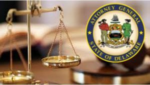 Photo of Gavel, Scales and Delaware Attornery General State Seal