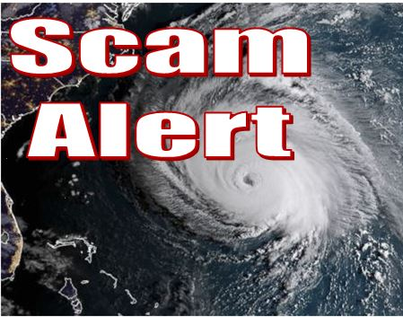 Picture of a hurricane and the words scam alert