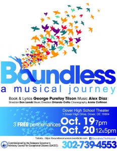 """Picture of """"Boundless and Musical Journey"""" promo leaflet """"srcset ="""" https://news.delaware.gov/files/2018/10/Boundless-Flyer-Final-232x300.jpg 232w, https://news.delaware.gov / files / 2018/10 / Boundless-Flyer-Final-768x994.jpg 768w, https://news.delaware.gov/files/2018/10/Boundless-Flyer-Final-791x1024.jpg 791w """"sizes ="""" (max - width: 232px) 100vw, 232px"""