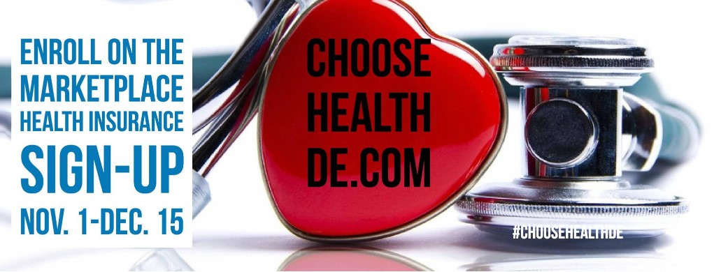 Picture of the Choose Health DE.com with heart, stethescope