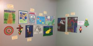 Photo of original artwork by students