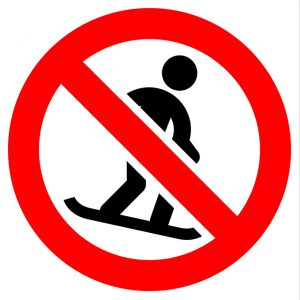 Picture of person snowboarding with banned symbol