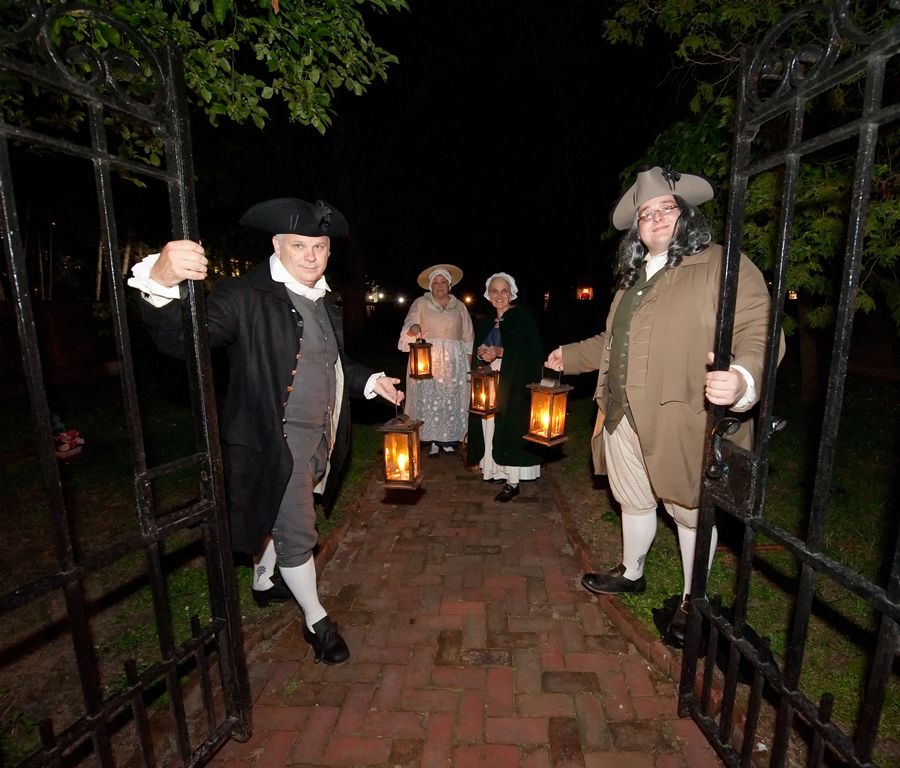 First State Heritage Park Lantern Tours entertain with stories of Dover's history guided by interpreters in historic clothing.
