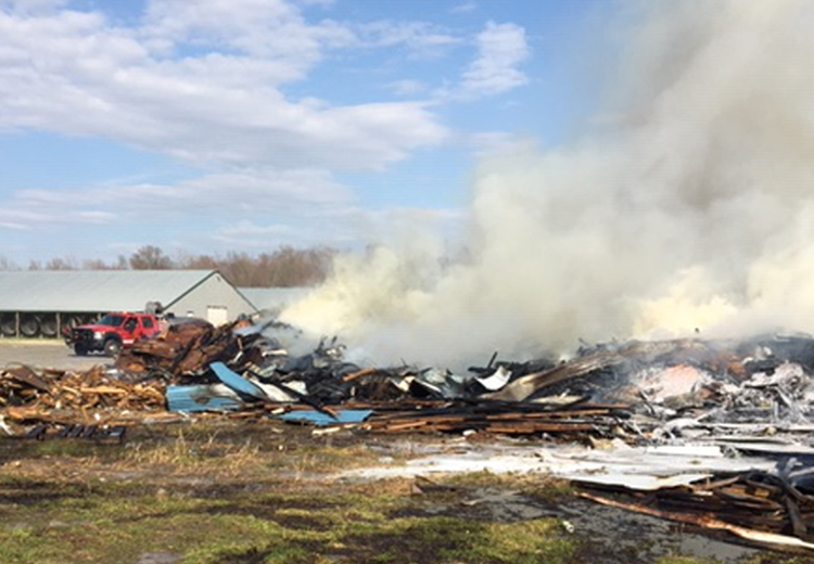 DNREC's Environmental Crimes Unit Natural Resources Police officers investigated this fire on Sandtown Road on April 4. DNREC ECU photo.
