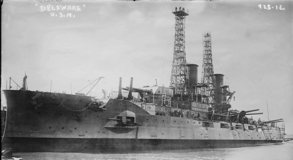 """The battleship USS Delaware (1909-1924). The vessel will be discussed during the lecture """"American Naval Ships Named Delaware"""" that will be presented by author and retired U.S. Navy Captain Bill Manthorpe during the Zwaanendael Maritime Festival on May 25, 2019."""