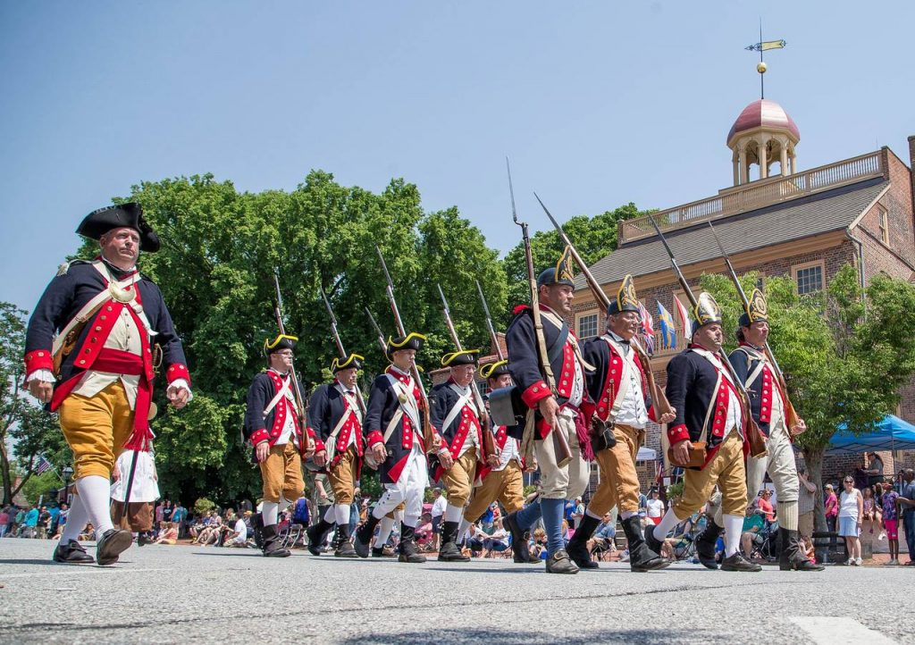 "The First Delaware Regiment will be conducting demonstrations on the New Castle Green as part of the ""Separation—Freedom for Delaware"" program on June 9, 2019."