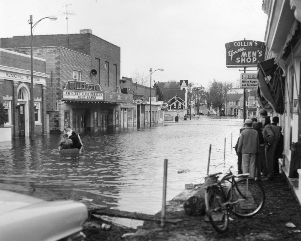 Flooding along Union Street in front of the Milton Theatre in Milton, Del. after the March 1962 nor'easter. Disaster preparedness for historic properties will be explored as part of the upcoming historic preservation symposium.