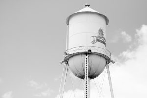 A black and white photo of the watertower in Harrington with the Delaware State Fair logo