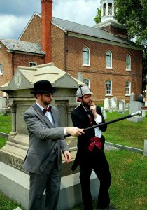 "Photo of historical interpreters Gavin Malone (left), as Dr. Watson, and Chris Hall, as Sherlock Holmes, will appear in the play ""The Scorched Pamphlet: Sherlock Holmes Returns to Delaware"" at The Old State House on Aug. 17, 2019."