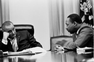 Photo of President Lyndon B. Johnson and Dr. Martin Luther King, Jr.