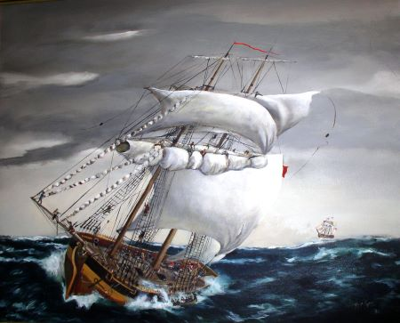 Painting depicting the capsizing of the DeBraak