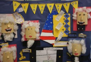 Detail from Bunker Hill Elementary School's display from last year's Delaware Day Fourth Grade Competition.