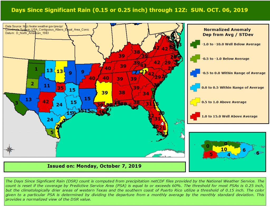 Days since rain map in Southern Region