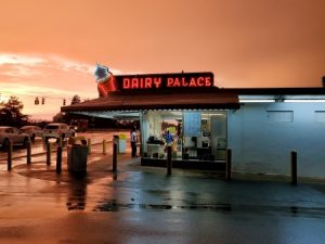 Photo of the Dairy Palace at dusk