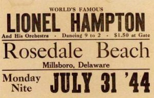 Poster advertising Lionel Hampton performance at Rosedale Beach