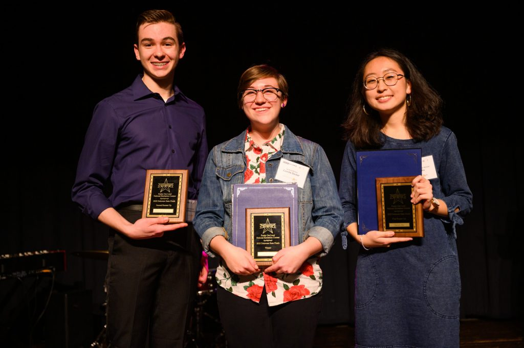 Daniel Patrick Johnson, Camille Decker and Sarah Zhu all hold their 2020 Delaware Poetry Out Loud state finalist awards