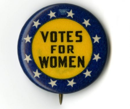 Photo of a womens Suffrage button